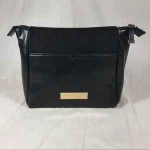 J Mendel Black faux Leather Canvas Cosmetic Bag